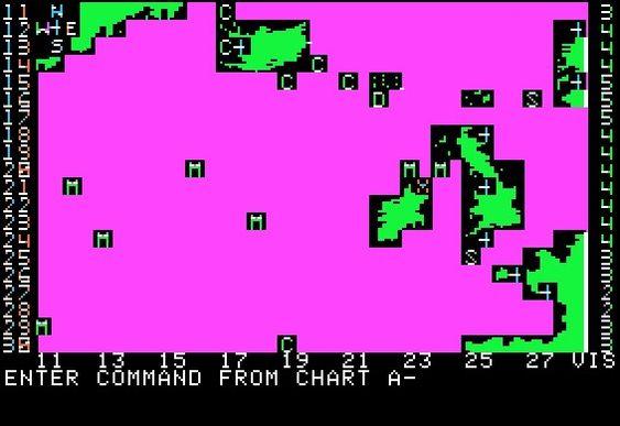 Hovedskjermbildet til Computer Bismarck på Apple II.