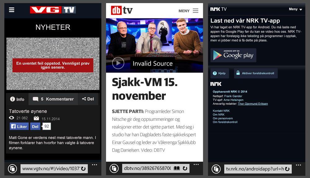 Internet Explorer 11 på telefonen min nekter å spille av video både fra VG, Dagbladet og NRK. Løsningen ble å laste ned egne apper.