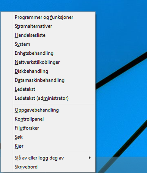 Denne menyen spretter frem når du trykker Windows + X.