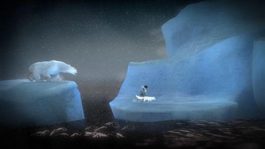 Løp så fort du kan for å unslippe isbjørnen.