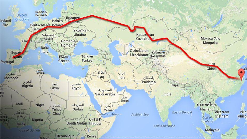 Linjen viser omtrent hvor jernbanen går.