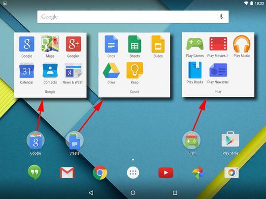 Google-funksjonene er samlet i tre grupper.