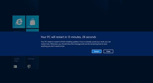 KREVER ADLYDENHET: Windows varsler om at du må restarte i fullskjerm, og teller demonstrativt ned for å sikre at du adlyder.