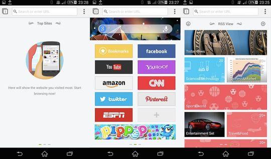 De tre startsskjermene i Next Browser. Til venstre vises de nettsidene du besøker mest, i midten er hurtivalgene og til høyre er nyhetsfeeden.