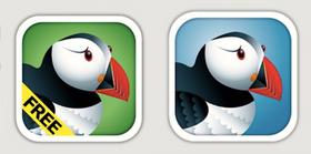 Puffin Browser Free (til venstre) og Puffin Browser (til høyre).