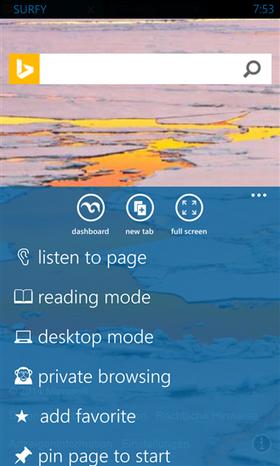 Surfy går godt inn i Metro-grensesnittet, og har mange tilleggsfunksjoner Internet Explorer mangler. Deriblant skrivebordsmodus og tekstmodus, som kan sees her.