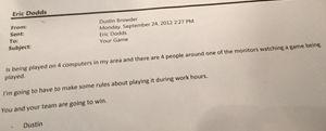 E-post-utvekslingen mellom Eric Dogg og Dustin Browder. (Bilde: Dave Wilson, Twitter).