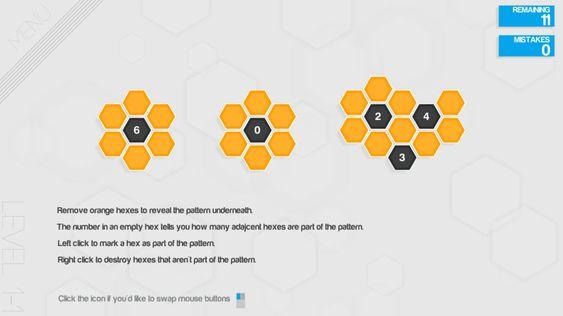 Hexcells-konseptet er lett å lære. (bilde: Matthew Brown Games).