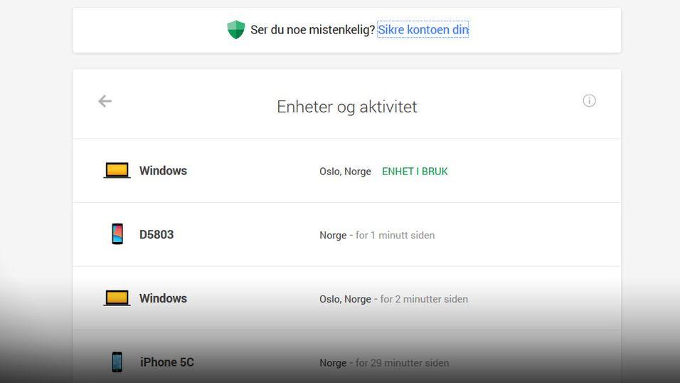 Sjekk hvilke dingser som bruker Google-kontoen din