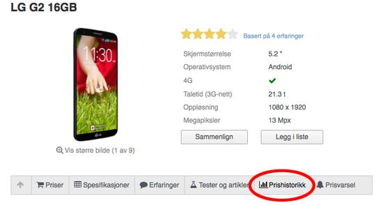 Hvis du lurer på om varen faktisk er så mye billigere som butikken lover, kan det lønne seg å sjekke produktsidene i Prisguide. Der kan du få vist prishistorikk for produktet.