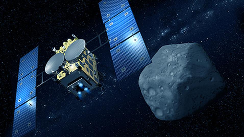 Illustrasjonsbilde av Hayabusa2 på vei til asteroiden.