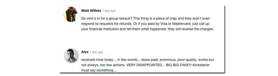 Brukerne på Kickstarter er ikke nådige.
