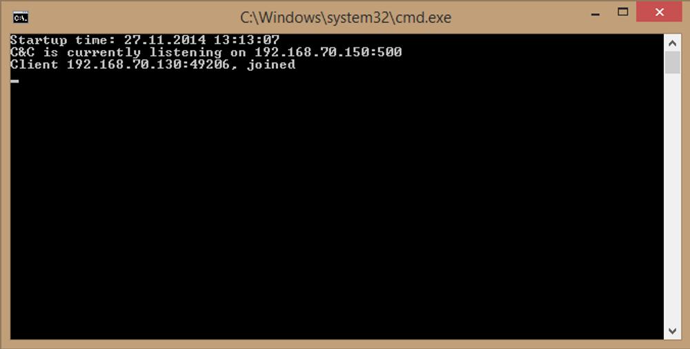 Og her er det som skjer i bakgrunnen. Maskinen har koblet seg opp til en server med ukjent geografisk plassering. Nå begynner moroa, eller elendigheta. Alt ettersom.