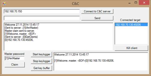 Kontrollverktøyet er også koblet til serveren.