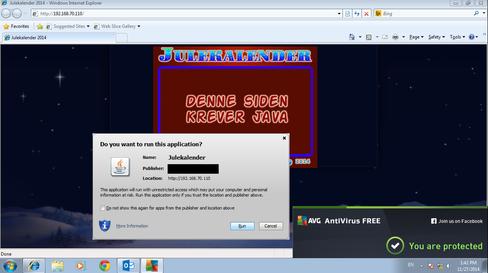 Java-appleten er skrevet spesifikt for formålet, og det som lurer seg bak blir dermed ikke fanget opp av oppdatert sikkerhetsprogramvare. Siden den er signert får du heller ikke opp flere advarsler enn denne.