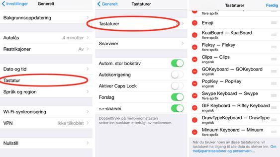 Gå til Innstillinger -> Generelt -> Tastatur -> Tastaturer på din iPhone/iPad for å bytte.