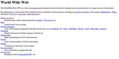 Verdens første web-side.