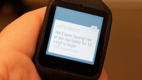 Slik kan det se ut når du mottar en SMS. I teorien kan du lese inn et svar.