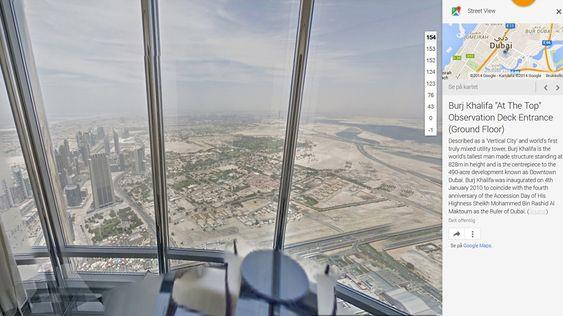Utsikten fra 154. etasje i Burj Khalifa.
