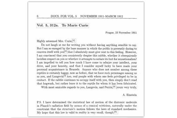 Her er brevet som Albert Einstein skrev til Marie Curie i 1911.