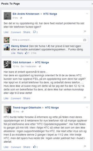 Noen av tilbakemeldingene fra HTC-brukere.