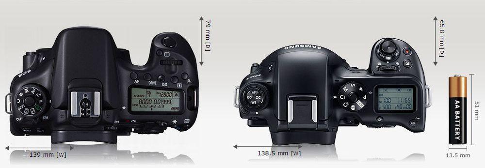 Canon EOS 70D og Samsung NX1 side ved side.