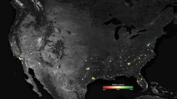 NASA kan se julelysene fra verdensrommet