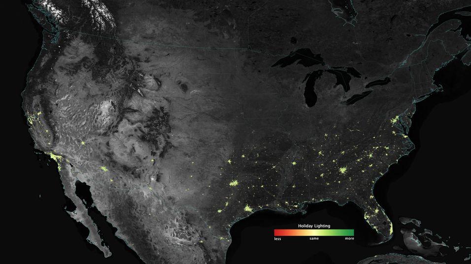 Dette er noen av byområdene hvor NASA har registrert en økning i lysintensiteten i juletiden.
