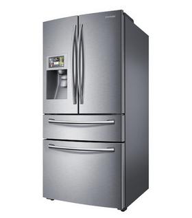 Dette er Samsungs  smartkjøleskap. 8 -tommeren er opp i venstre hjørne.