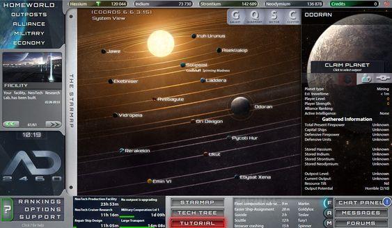 Oversikt over hjemplaneten og utpostene.