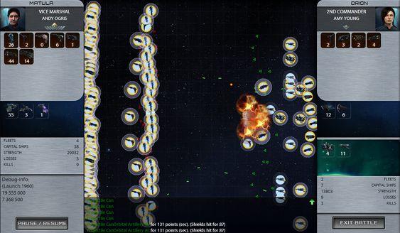 Eksempel på visuelle effekter i kamp.