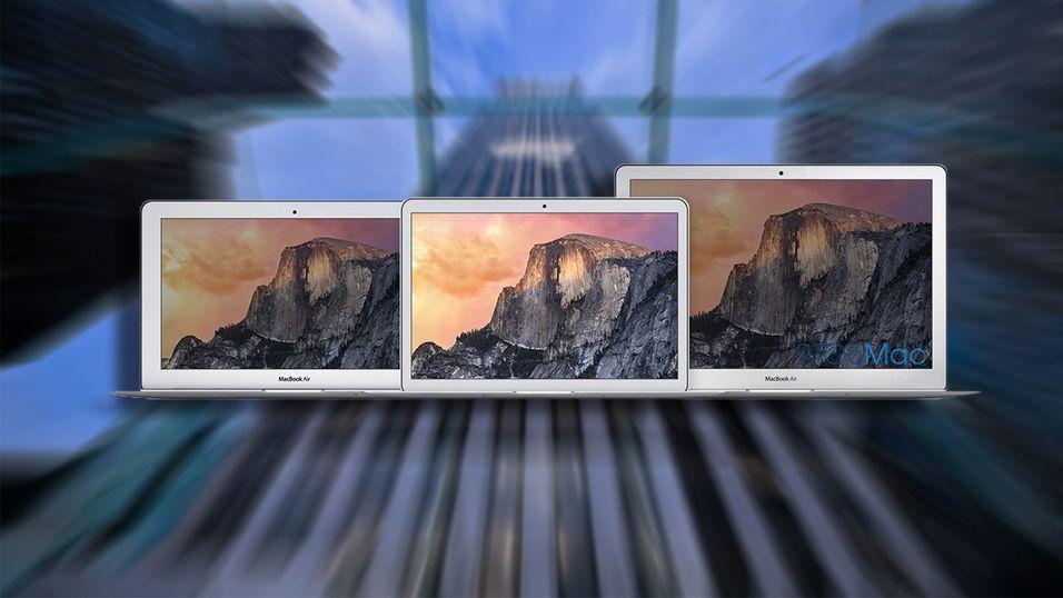 """9to5Macs illustrasjonsbilde av nye Apple MacBook Air 12"""" (i midten), oppstilt sammen med dagens 11"""" (t.v.) og 13"""" (t.h.)"""