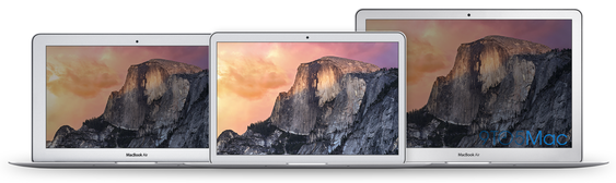 "Fra venstre: Dagens MacBook Air 11"", illustrasjon av MacBook Air 12"" og dagens MacBook Air 13""."