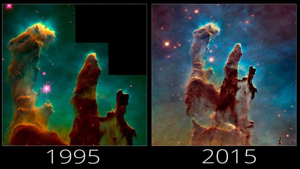 NASA har oppgradert Hubble-teleskopet mye på 20 år. Resultatet ser du her.