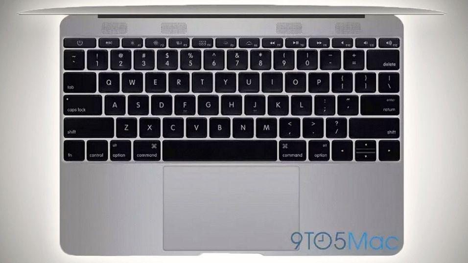 Slik ser den nye MacBook Air angivelig ut fra toppen med lokket oppe.
