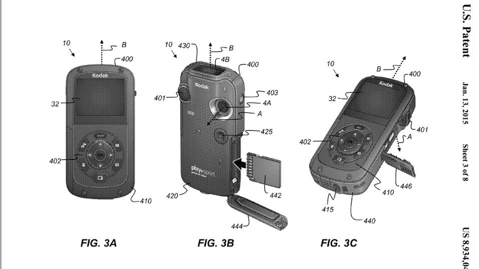 Illustrasjonsbilde fra patentdokumentet som tydelig viser at patenten er basert på tidligere ervervede Kodak-patenter.