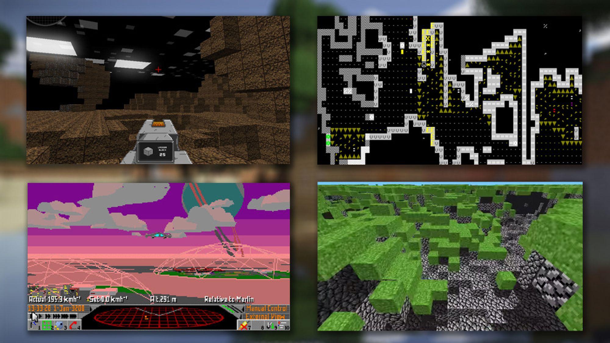 Infiniminer, Dwarf Fortress og Frontier: Elite II er klare inspirasjonskilder for Minecraft.