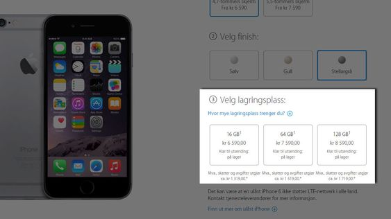 Apple Store tar seg godt betalt for ekstra lagringsplass på nye iPhone 6.