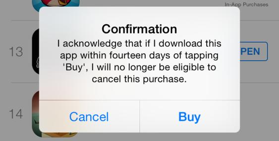 Hvis Apple mener du misbruker systemet, får du opp denne beskjeden neste gang du prøver å kjøpe en app. Trykker du OK, frasier du deg retten til å refundere kjøpet.