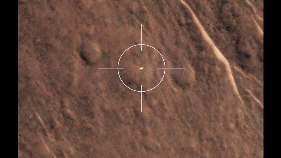 Denne hvite flekken er det forsvunnede landingsfartøyet.