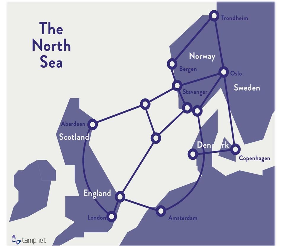 Slik ser sambandslinjene over Nordsjøen til Storbritannia ut.