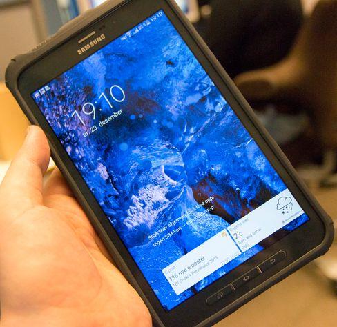 Låsekjermen på Galaxy Tab Active. Skjermkvaliteten kunne vært bedre. Spesielt med tanke på prisen.