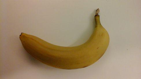 Her har vi brukt Galaxy Tab Actives premiumkamera til å dokumentere en banan.