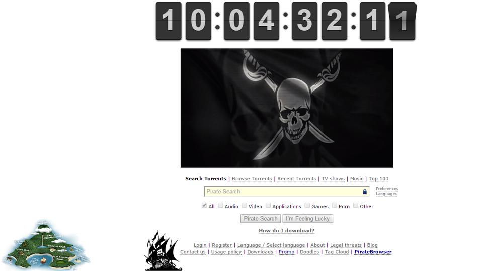 Slik ser den nye The Pirate Bay-forsiden ut.