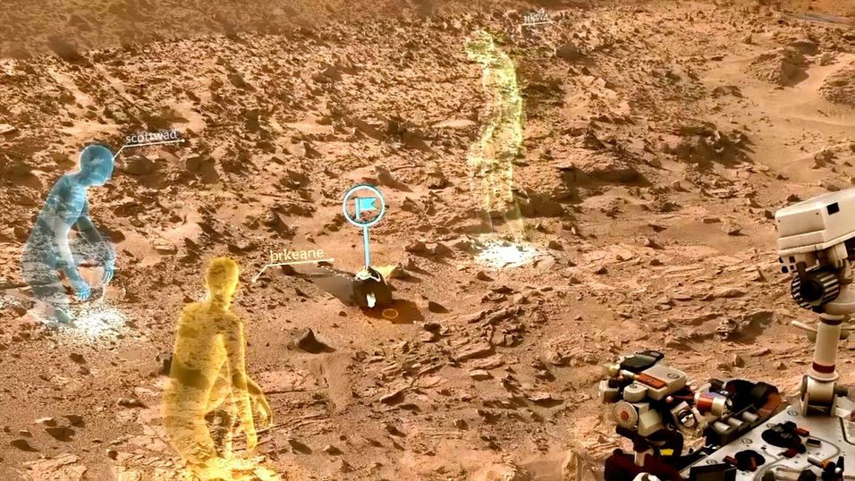 Skjermbilde fra OnSight-programvaren som er utviklet av NASAs Jet Propulsion Laboratory i samarbeid med Microsoft. Faktiske data fra Mars-roveren brukes til å lage en 3D-modell av omgivelsene, og forskere kan «møtes» rundt roveren.