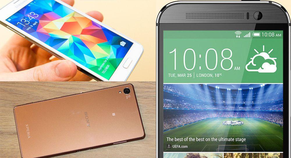 Dagens toppmodelle fra Samsung, Sony og HTC.