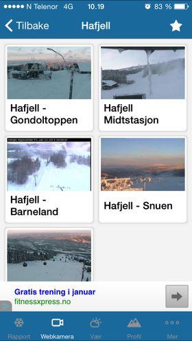 Skiinfo viser deg blant annet webcam-bilder fra flere vintersportsteder.