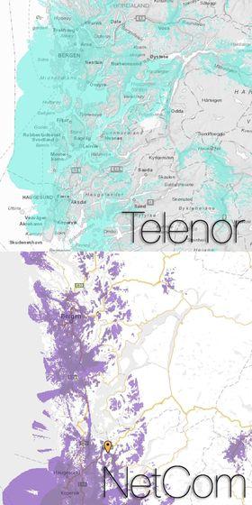 Dekningen din kan avhenge en del av hvilket nett du er i. Særlig når det kommer til 4G-dekning er dette sant, noe dekningskartene til Telenor og NetCom i  Bergensområdet viser tydelig.