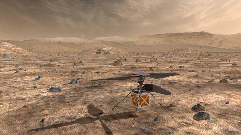 Illustrasjonsbilde av dronen på Mars' overflate.