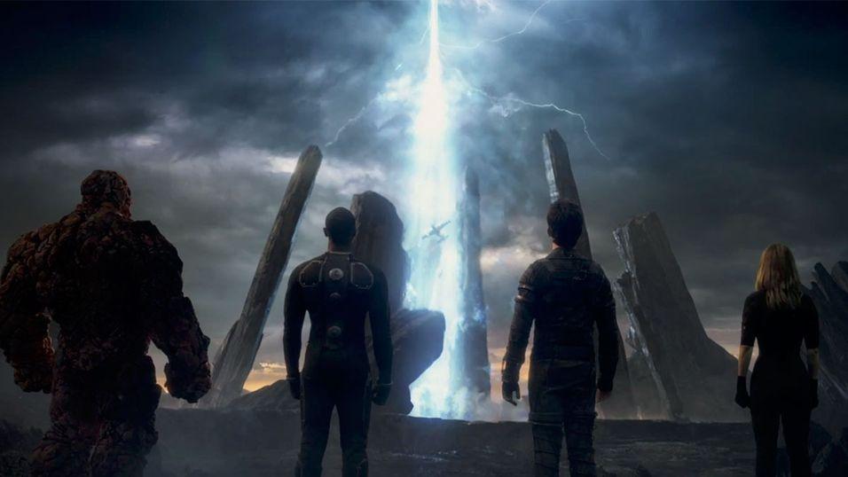 Her står de fire heltene samlet - The Thing, Johnny Storm, Reed Richards og Sue Storm.